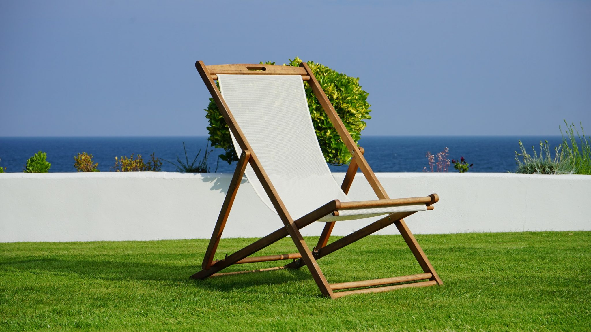 chair on artificial lawn